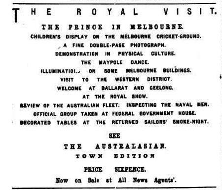 Special Advertisement, The Royal Visit, The Argus, Fri 4 June 1920