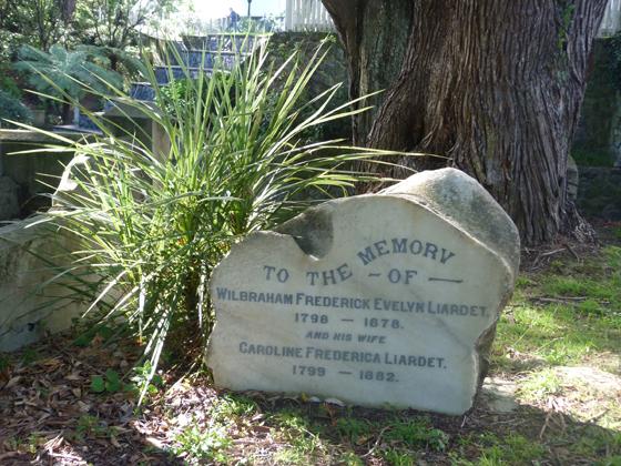 Wilbraham Frederick Evelyn and Caroline Liardet gravesite, Bolton Street Memorial Garden, Wellington, NZ