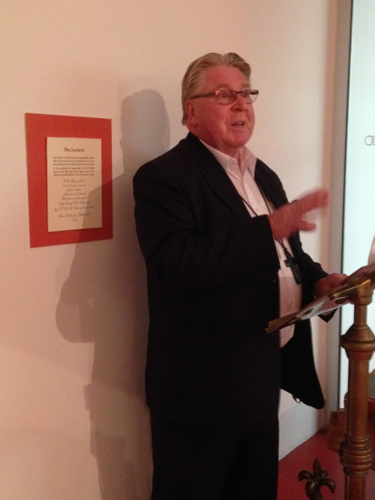 Rev Noel Whale launching the English Church at Sandridge Exhibition, Port Melbourne Town Hall