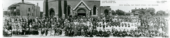 Panorama photograph taken during Liardet Centenary Celbrations at Holy Trinity, November 1939.  Port Phillip City Collection