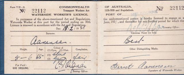 Bernt Aanenson's license