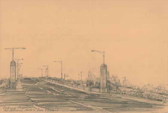 Centenary Bridge, Port Melbourne, March '91 by Brian Cleveland