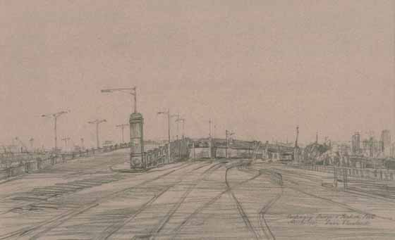 Centenary Bridge & Station Pier, March 1991 by Brian Cleveland