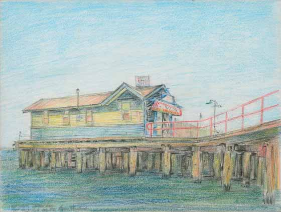 Old Kiosk, Station Pier, Pt Melb by Brian Cleveland