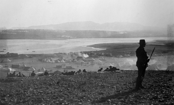 Australian soldiers at the Anzac Rest Camp at Sarpi on Lemnos, 1915. Photographer AW Savage, State Library of NSW Collection
