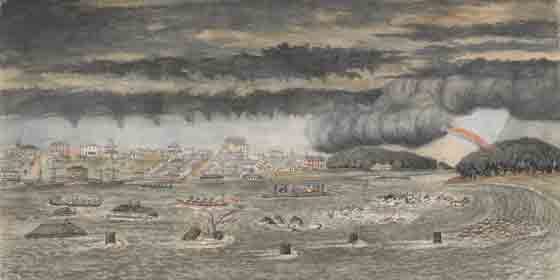 The Flood of 1849, W F E Liardet (1875), watercolour, State Library of Victoria.