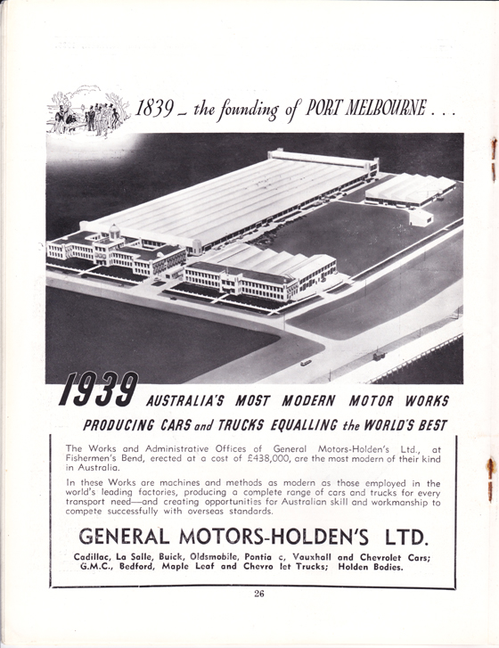 GMH advertisement from Greater Port Melbourne 1939 Centenary Souvenir