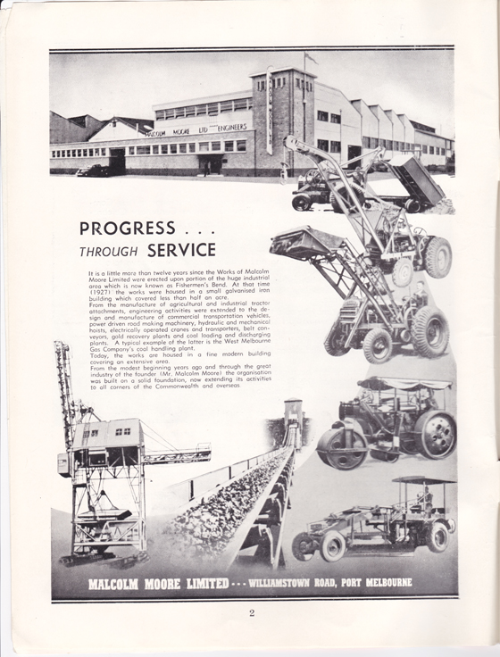 Malcolm Moore Ltd advertisement from Greater Port Melbourne 1939 Centenary Souvenir