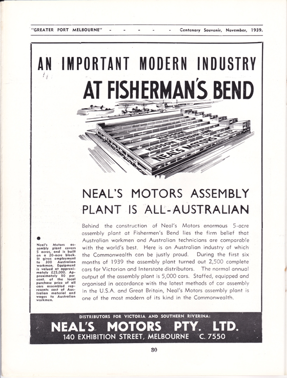 Neal's Motors Pty Ltd advertisement from Greater Port Melbourne 1939 Centenary Souvenir
