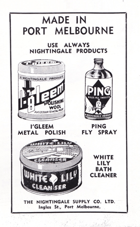 Nightingale Supply Co Ltd advertisement from Greater Port Melbourne 1939 Centenary Souvenir