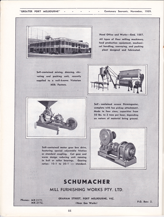 Schumacher advertisement from Greater Port Melbourne 1939 Centenary Souvenir