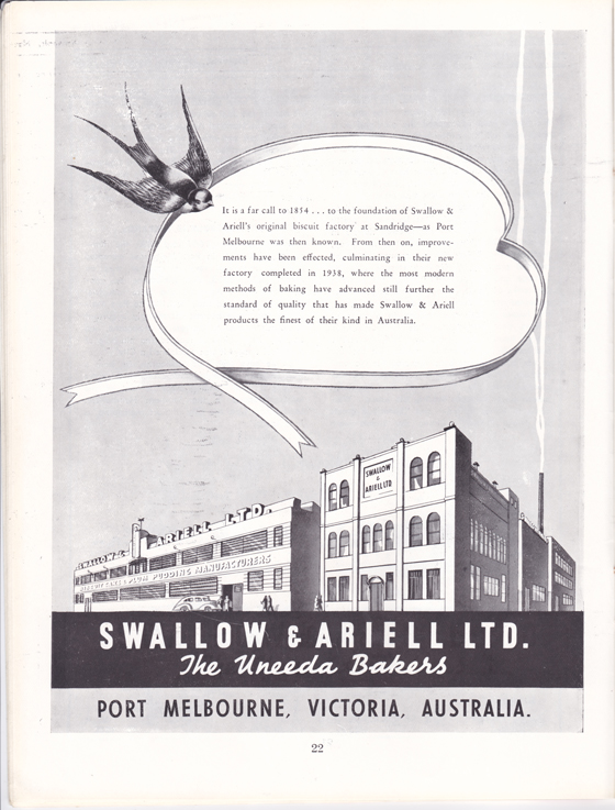 Swallow & Ariell Ltd advertisement from Greater Port Melbourne 1939 Centenary Souvenir