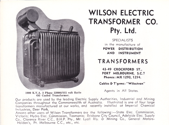 Wilson Electric Transformer Co Pty Ltd advertisement from Greater Port Melbourne 1939 Centenary Souvenir