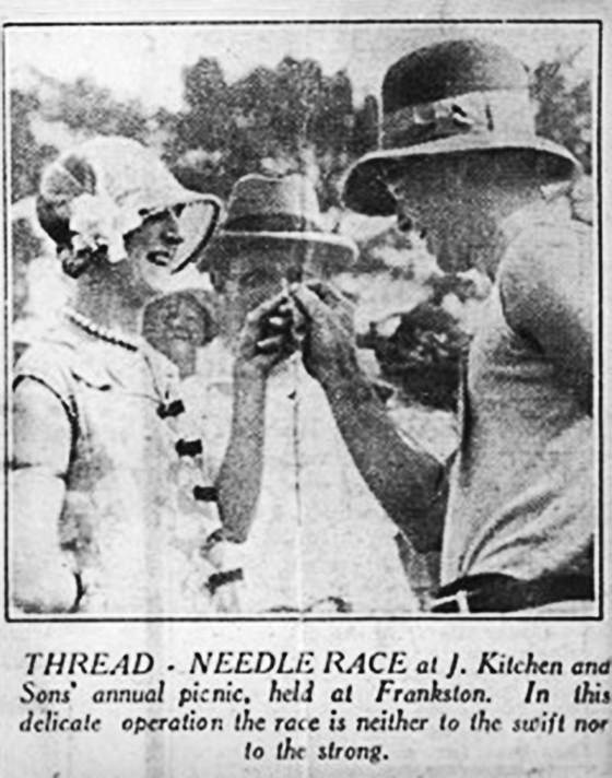 Myrtle Mott and Bill Hegarty in the Thread Needle Race at Kitchen's Annual Picnic.