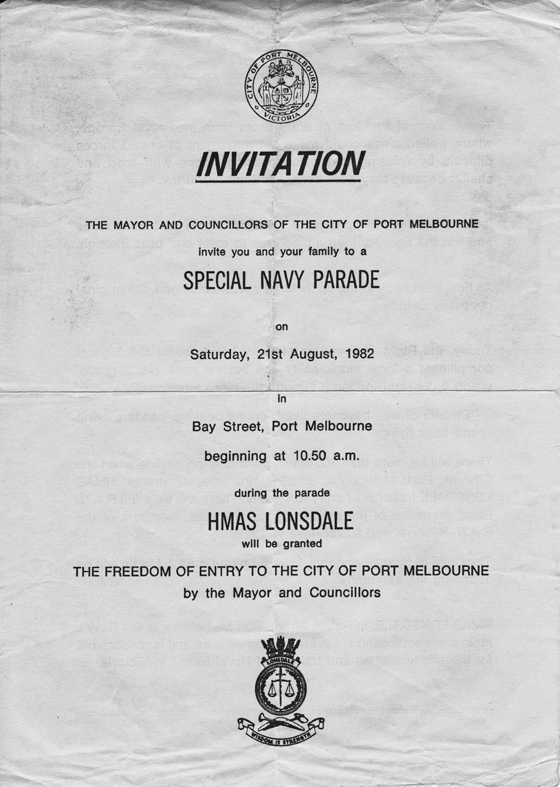 Invitation flyer to citizens of Port Melbourne to attend the Special Navy Parade on Saturday 21 August 1982. PMHPS Collection.