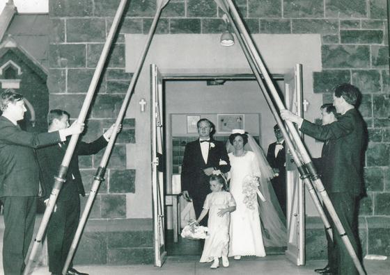 Joy Phillips' (née Kilpatrick) wedding at St Joseph's Church, November 1968.