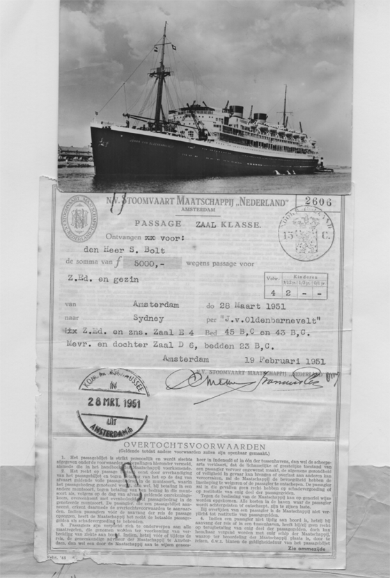 Postcard of Johan van Oldenbarnevelt and passenger ticket for the Bolt Family Immigration to Australia March 1951.