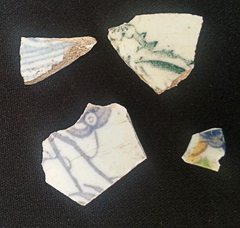 Shards of pottery found at St James Cottage, Heath Street.