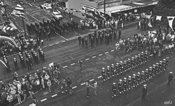 The Freedom of Entry to the City of Port Melbourne Navy Parade in Bay Street, 1982. Courtesy of Perc White.