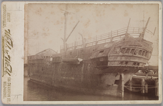 Convict hulk 'Success' at Williamstown. Photographers Webb & Webb. Courtesy State Library of Victoria
