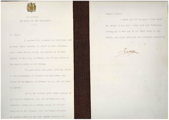 Signed copy of Prince Henry, Duke of Gloucester's speech on his arrival at Port Melbourne in 1934 for the Victorian Centenary. PMHPS Collection.
