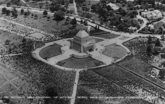Aerial view of the Dedication Ceremony for the Shrine of Remembrance in Melbourne.