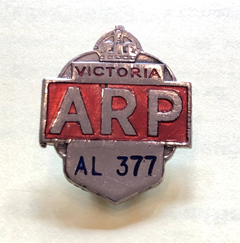 ARP Lapel Badge. PMHPS Collection.