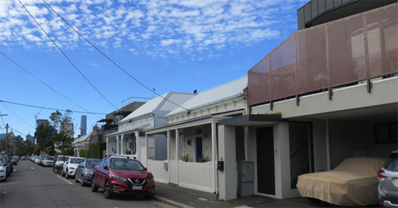 Colour photograph of Albert Street, Port Melbourne looking towards Melbourne. an eclectic mix of victorian cottages through to modern town houses.