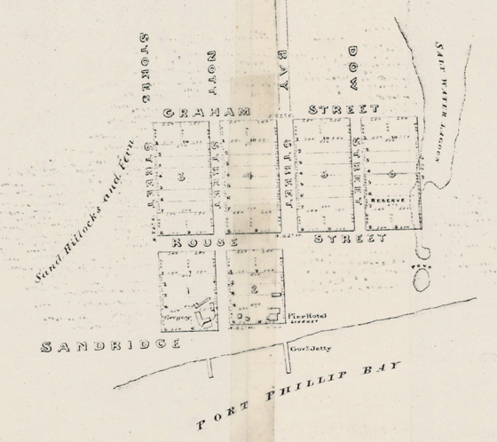Detail, Plan of allotments marked at Sandridge in the parish of South Melbourne [cartographic material] / surveyed by Lindsay Clarke Assit. Surr., 1849. State Library of Victoria.