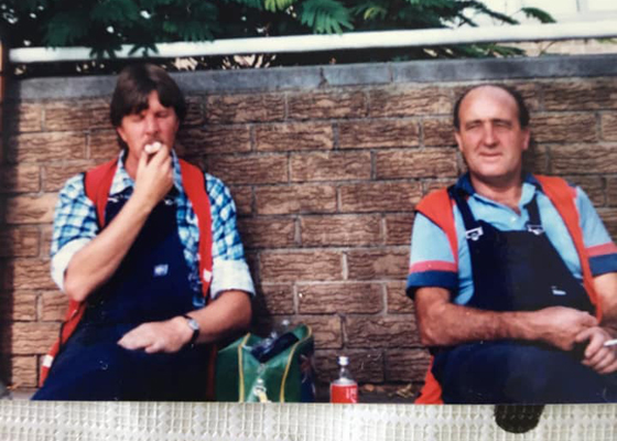 Ken Hall (right) taking a break with fellow council worker, Robin Donchi, 1983.