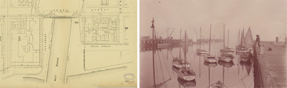Left: Portion of MMBW 1894 map showing the boat harbour cut into the Port Melbourne foreshore. Right: Black and white photo of a small harbour with wooden wharves on each side. There are several small sailing boats moored in the harbour. Two men stand on the right wharf looking at the boats.