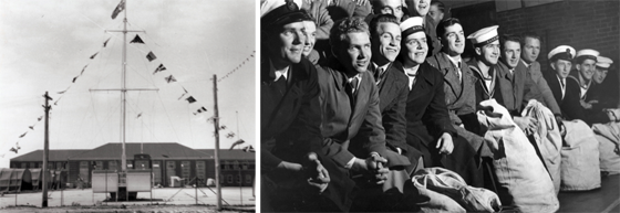 Left: Black and white photo of HMAS Lonsdale parade ground decorated with bunting. Right: Black and white photo of HMAS Lonsdale recruits sitting. Some are wearing naval uniforms, some are in civilian suits and some have kitbags on the floor in front of them.