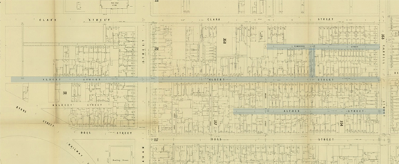 MMBW map from 1894 showing area around Albert and Alfred Streets, Port Melbourne.